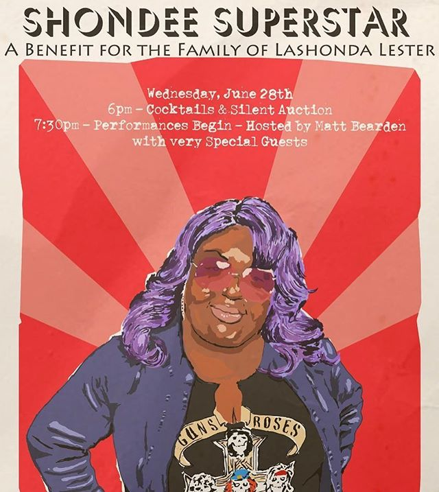 We were so lucky to have had Lashonda Lester on our 1st season and to call her a friend. PLEASE come out to @capcitycomedy Weds night and support her enduring legacy and raise funds for her family. Performances by @chriscubas @mattbearden Martha Kelly and more. Love you always #shondeesuperstar