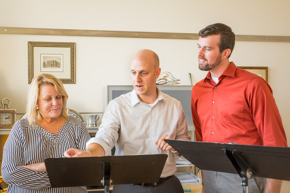 Deborah Voigt, Evan Mack, and Jeffrey Williams rehearsing Roscoe at Voigt's studio in San Fransisco, CA.