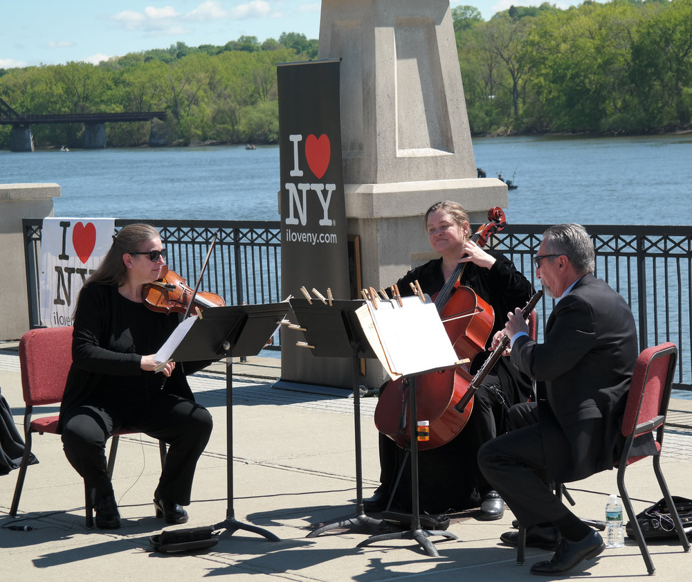 Albany Symphony Musicians perform selections from Handel's Water Music at Albany's Jennings Landing on May 12, 2017 at the official launch of Water Music NY.