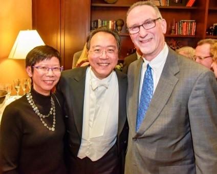 Carole and David with YoYo Ma at an Albany Symphony reception in 2016.