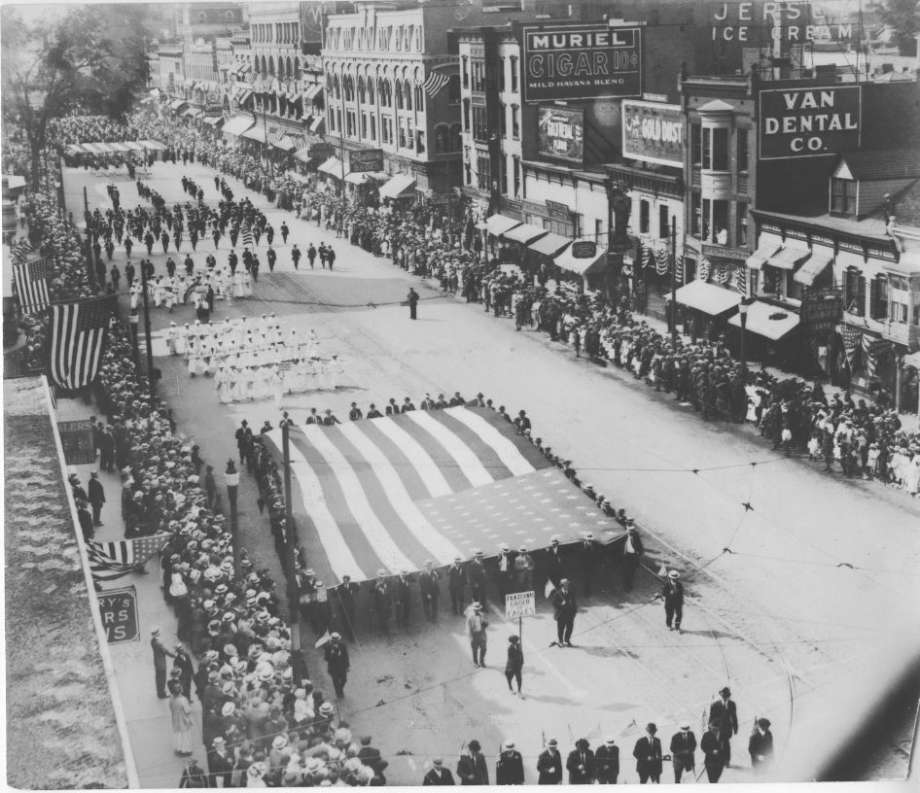 Preparedness parade on State Street in Schenectady. 1916