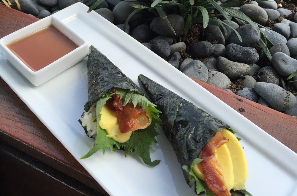 The Bacon and Egg Handroll.