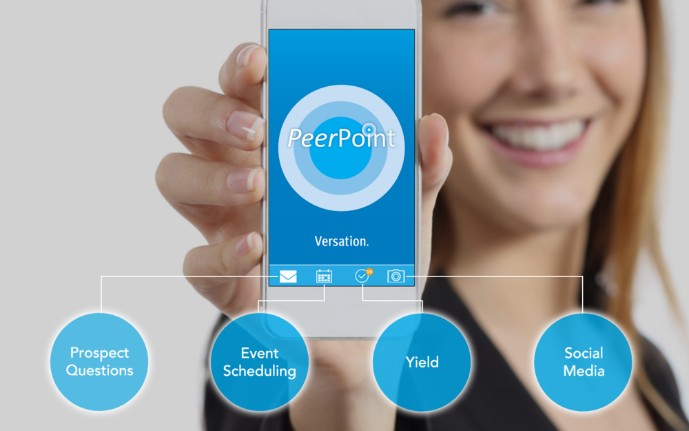 PeerPoint includes higher educations' only  student ambassador app , making it easy for student ambassadors to manage activities such as questions from prospects, event scheduling, yield and outreach efforts, and social media.  Click here to learn more about how we connect prospects and student ambassadors to increase your enrollment.