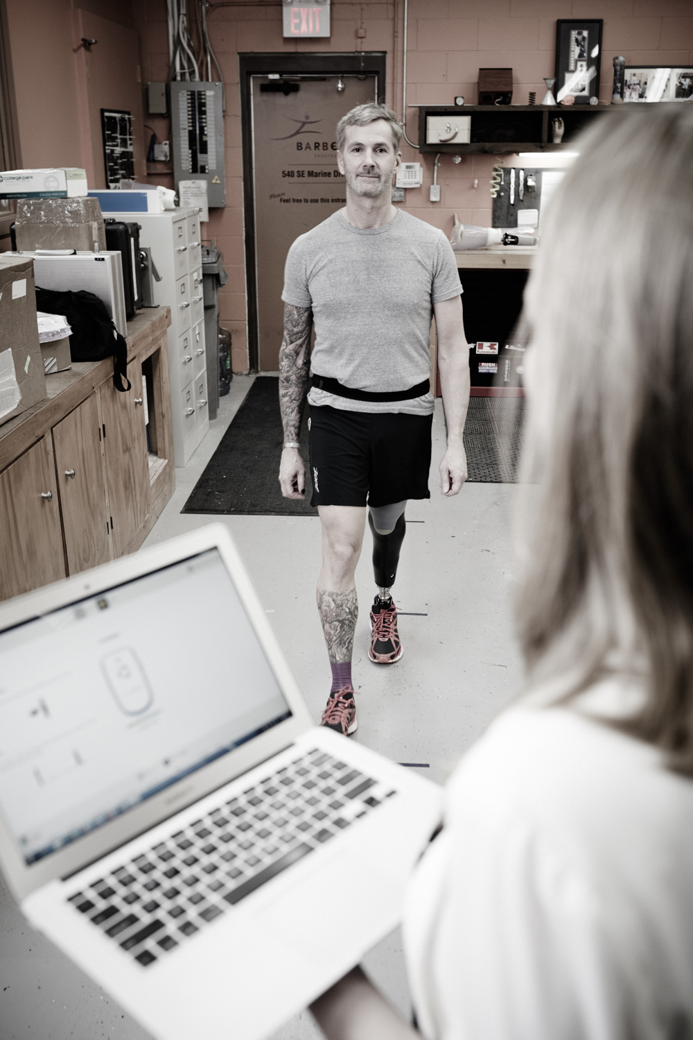 using GWalk for a man's transtibial prosthesis