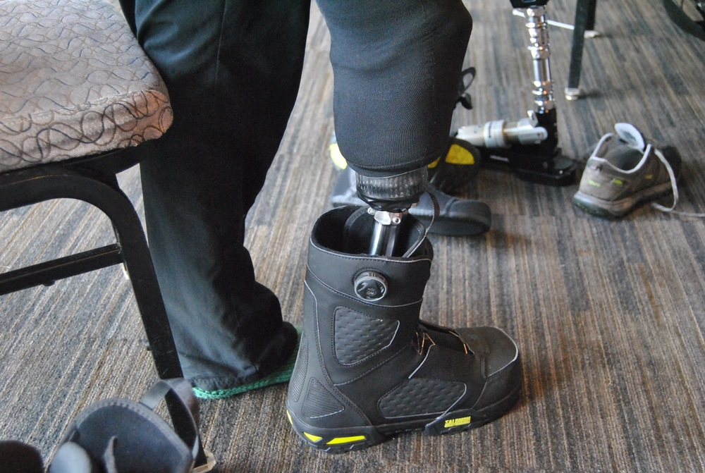 transtibial prosthesis with snowboarding/skiing foot