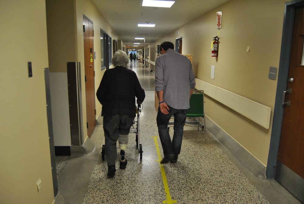 Senior with prosthesis