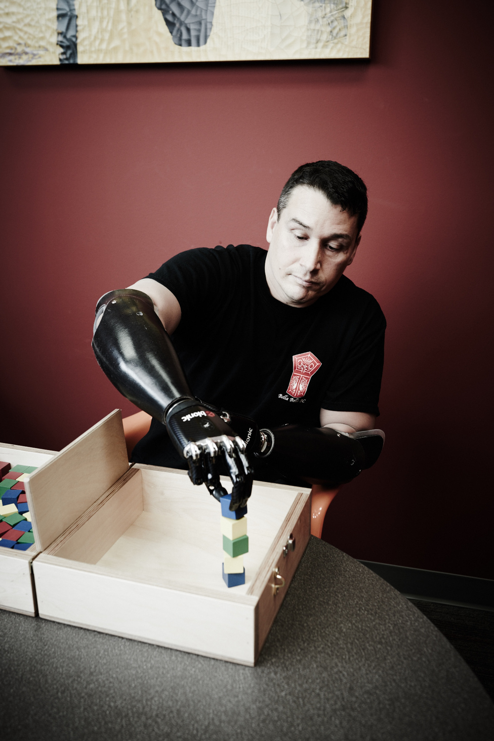 man with bilaterial transradial prostheses using BeBionic hands