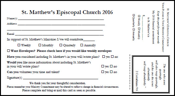 pledge card old  u2014 st  matthew u0026 39 s episcopal church