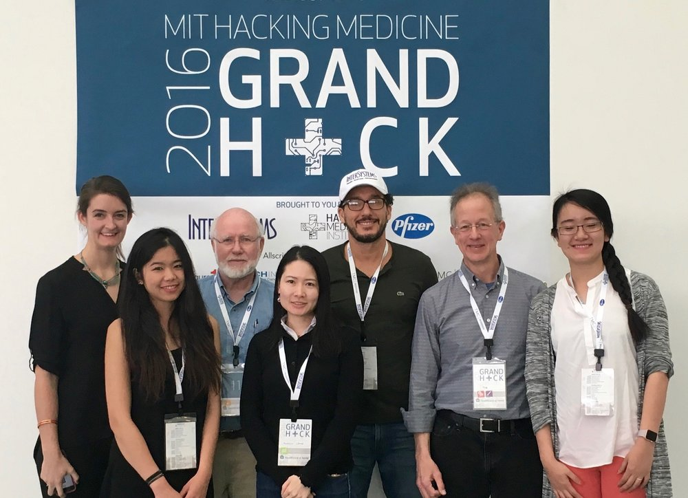 MIT Medical Hackathon - We had a wonderful time and gathered new members from the MIT Grand Hack Medical Device Hackathon in April 2016, where we were delighted to be a finalist in the Healthcare @ Home division.  Elena Butler and Mandi Cai from the Hackathon have joined our team, working on Business Development and App Design.
