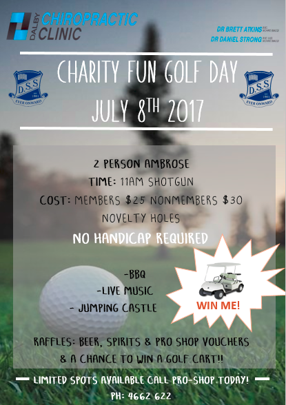 ITS OUR ANNUAL CHARITY GOLF DAY! - This years golf day is set to be BIGGER and BETTER than any other year! With one of the biggest possible giveaways ever! for your chance to win a Golf Buggy (Valued at $10,200) all you need to do is get a hole in one on the 18th hole, can't be that hard right? All proceeds will be going to the Dalby State School after the horrible fire that took a huge portion of it buildings in April.