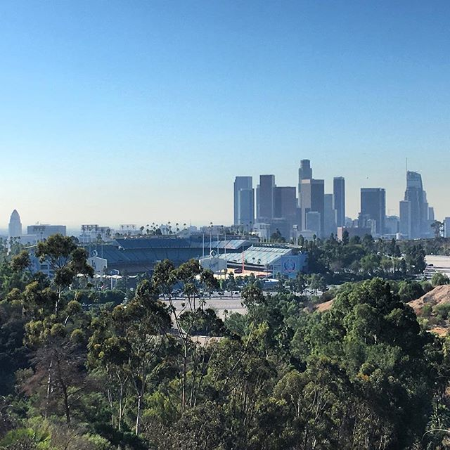 Did a nice lil Elysian park hike today to get this view of tonight's  #worldseries location, good luck tonight #dodgers! Hope ur not too tired from last night! Coffee and a Red Bull!