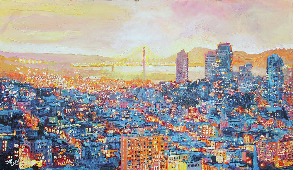 San Francisco, Under a Blue and Citrus Sunset