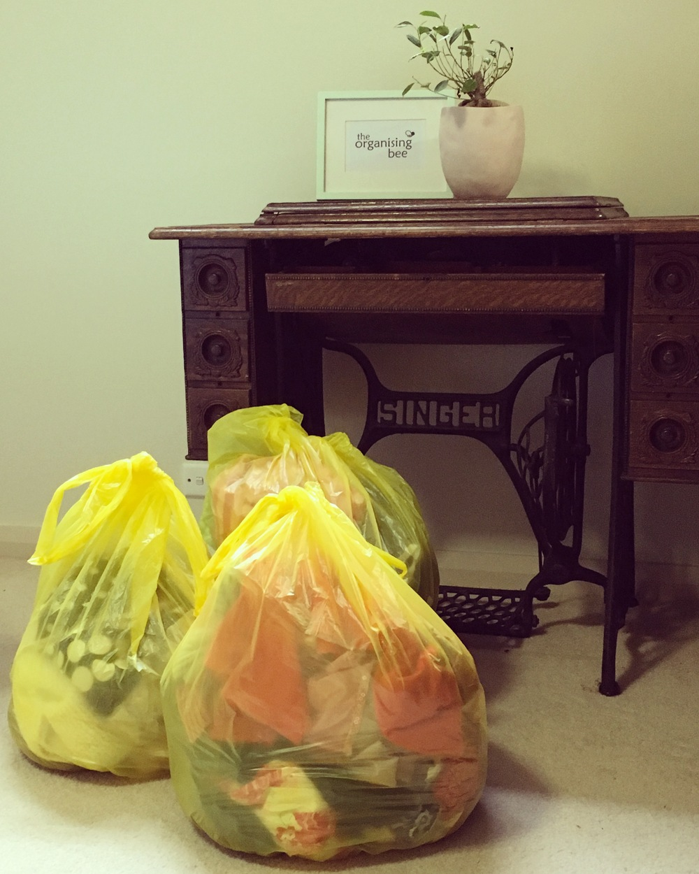 Decluttering complete & bags of clothes are ready for donation. IMAGE BY AMY KENNEDY