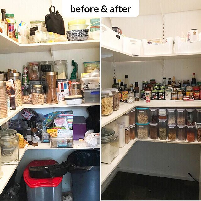 #beforeandafter A beautiful pantry. My lovely client is overjoyed that she can now find everything in her pantry. ⠀ ⠀ #pantrygoals #organisingbee #professionalorganiser #homeorganising #canberra #organisingfamilies #canberraorganiser #organisingmums #organisingcanberra #organise #organisedpantry