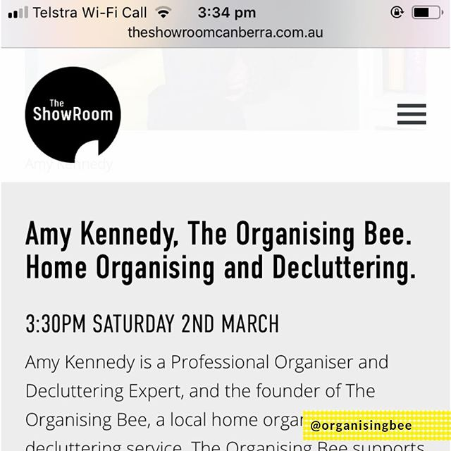 Super, super excited about an upcoming event by The ShowRoom Canberra - Canberra's Creative Home Show (2-3 March). There are so many local Canberra businesses showcasing their services at the event that is described as the most creative, beautiful, innovative, experienced, authentic Home Show in Canberra. What is even more exciting is that The Organising Bee will be exhibiting and I will be on stage talking all things decluttering and home organisation at 3:30pm on Saturday 2 March. Hope to see you there! Entry is FREE.