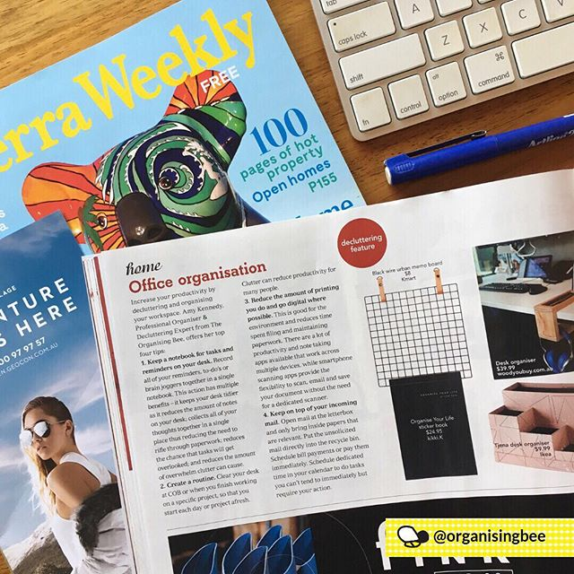 Sharing my tips on how to increase productivity in the office by decluttering and organising your workplace in this weeks edition of @CanberraWeekly.  Pick up your copy today. It's free! ⠀ ⠀ #organisingbee #canberraweekly #mediamention #officeorganisation #homeoffice #organisingtips #residentialdecluttering #canberraprofessionalorganiser #organiser #professionalorganisercanberra #organisingcanberra #clutterfree #organisecanberra #organisinglife #familyorganisation #homeorganisercanberra #homeorganiser #professionalorganising #organising #organised #getorganised #canberralocals #canberramums #declutter