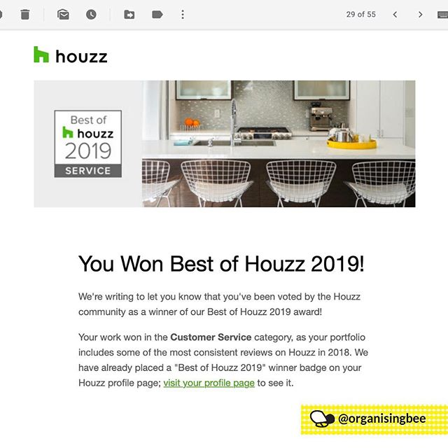 I am so honoured to have been awarded the Best of Houzz Award 2019 for service for the third consecutive year.  This award means more to me than you could imagine.  When people ask me why I do what I do, my answer is always because of my amazing clients (plus, my love for organisation). My clients needs are so super important to me and being part of a positive and meaningful change in their lives more than outweighs and difficult or exhausting days.  I thank each and every client that have supported my business this past year, especially those who gave me the exceptional 5-star reviews.  Thank you.⠀ ⠀ #winner #bestofhouzz #bestofhouzzsevice #customerserviceaward #houzzau #organisingbee #happyclients #residentialdecluttering #canberraprofessionalorganiser #organiser #professionalorganisercanberra #organisingcanberra #clutterfree #organisecanberra #organisinglife #familyorganisation #homeorganisercanberra #homeorganiser #professionalorganising #organising #organised #getorganised #canberralocals #canberramums #declutter