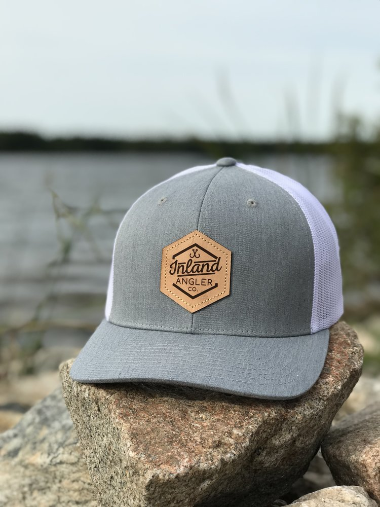 Leather Patch Trucker Hat (Heather Grey White) — Inland Angler Co. 93cd8f412db