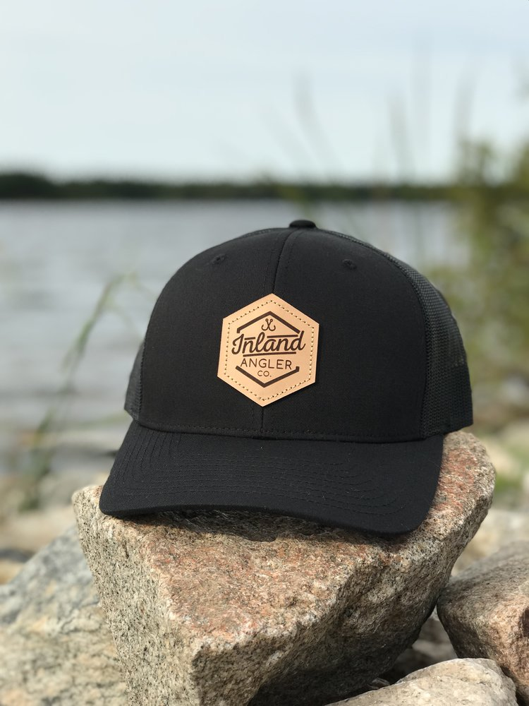 6b0d8c2ae8b12 Leather Patch Trucker Hat (Black Black) — Inland Angler Co.