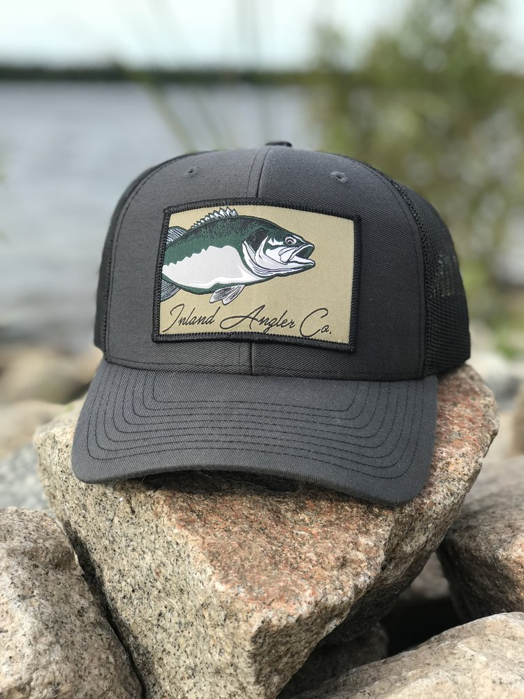 181b64b7f095b Largemouth Patch Trucker Hat (Charcoal Black) — Inland Angler Co.