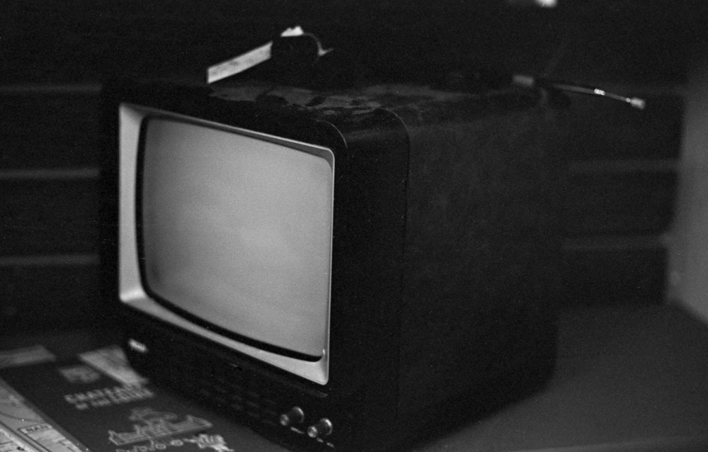 """20 Aug 2016, Vintage """"portable"""" TV, Country Antique Fair Mall, Santa Clarita, CA, Kodak Tr-X 400, Canon EOS-1, Developed (D-76) and Scanned by me."""