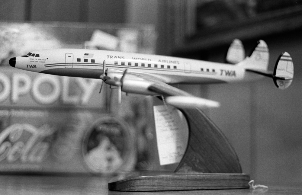 20 Aug 2016, Vintage TWA Toy Plane, Country Antique Fair Mall, Santa Clarita, CA, Kodak Tr-X 400, Canon EOS-1, Developed (D-76) and Scanned by me.