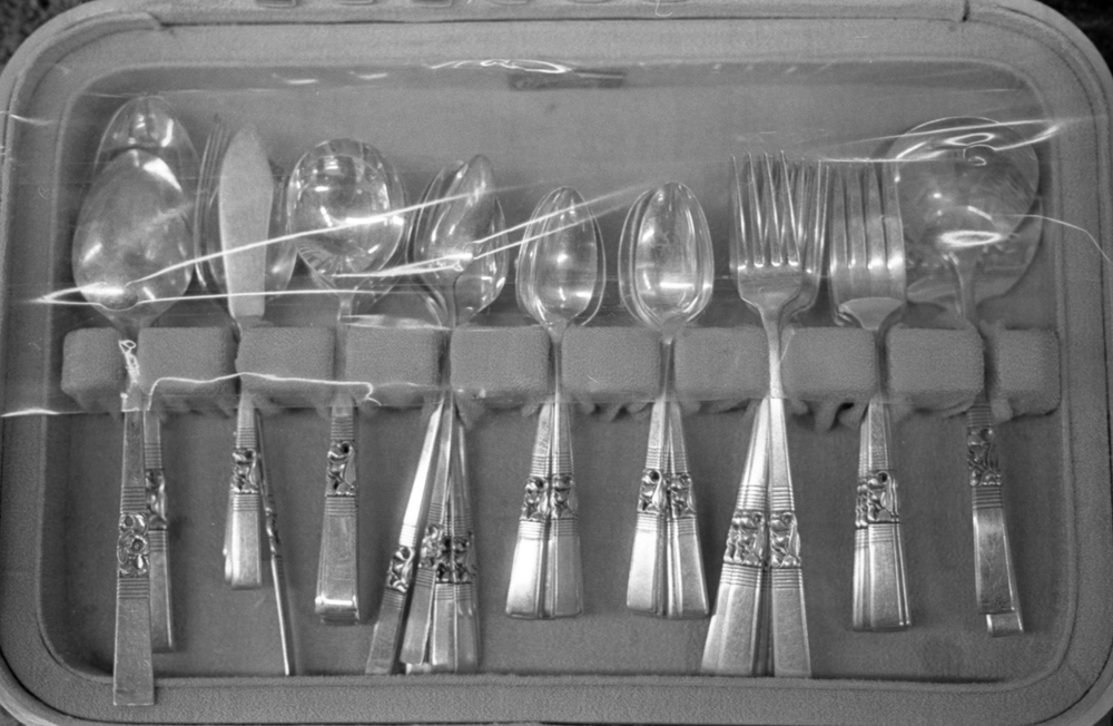 20 Aug 2016, Vintage Flatware set, Country Antique Fair Mall, Santa Clarita, CA, Kodak Tr-X 400, Canon EOS-1, Developed (D-76) and Scanned by me.