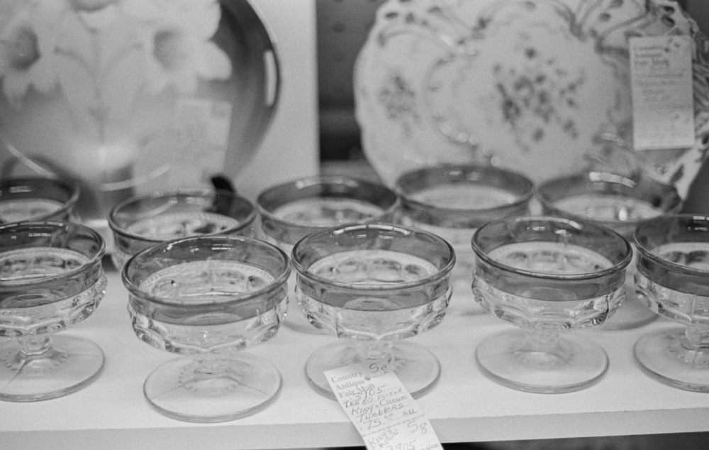 20 Aug 2016, Vintage glassware, Country Antique Fair Mall, Santa Clarita, CA, Kodak Tr-X 400, Canon EOS-1, Developed (D-76) and Scanned by me.