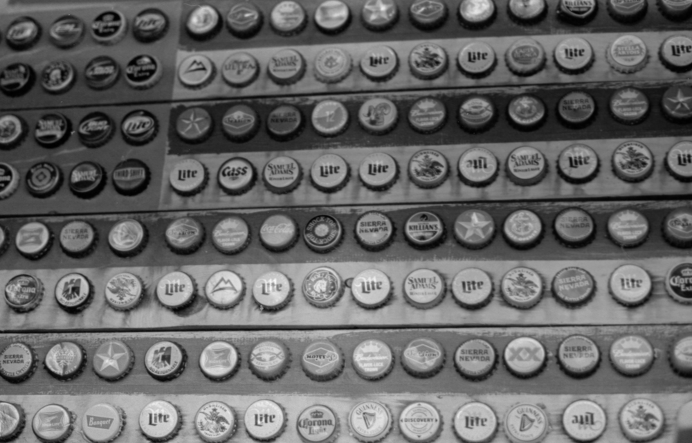 20 Aug 2016, Vintage Beer Bottle Caps, Country Antique Fair Mall, Santa Clarita, CA, Kodak Tr-X 400, Canon EOS-1, Developed (D-76) and Scanned by me.