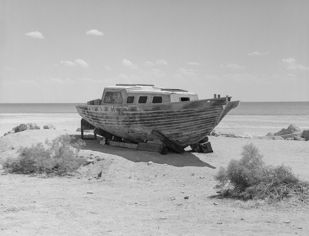 28 Aug 2016, Abandoned boat, Bombay Beach, Salton Sea, CA. Pentax 645, Tri-X 400, Developed (D76) and Scanned by me.