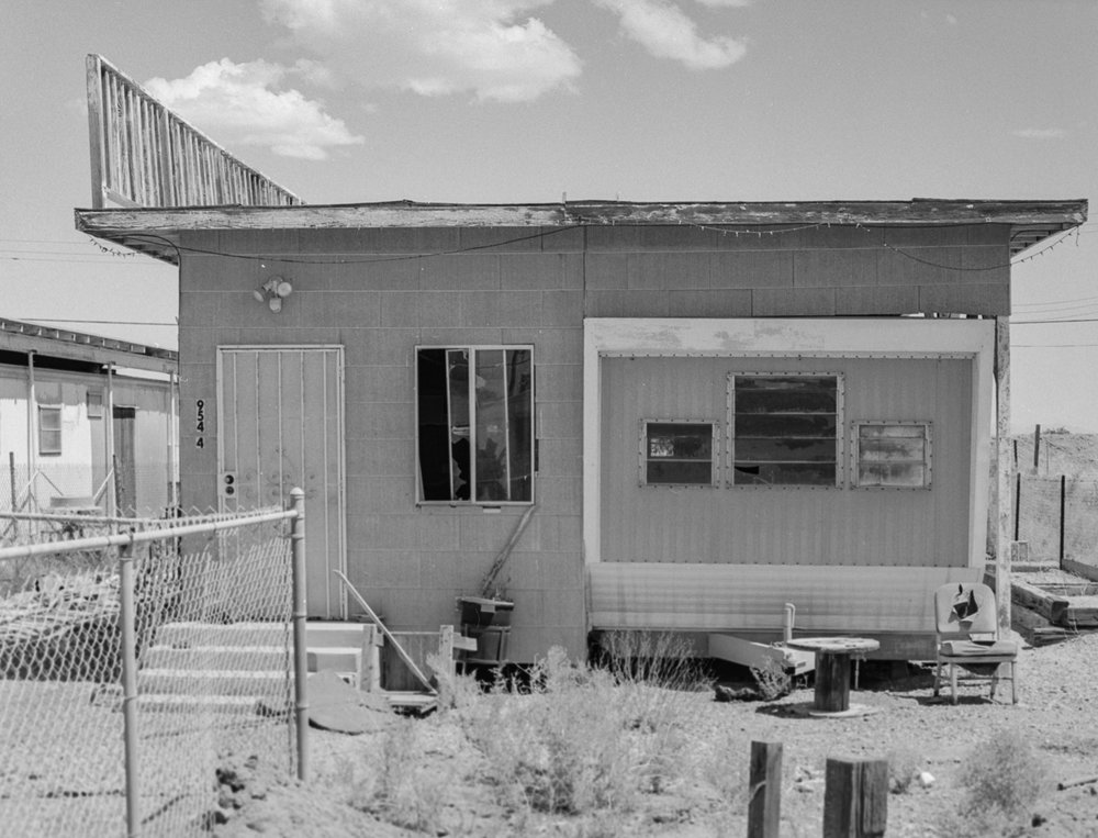 28 Aug 2016, Abandoned home, Bombay Beach, Salton Sea, CA. Pentax 645, Tri-X 400, Developed (D76) and Scanned by me.