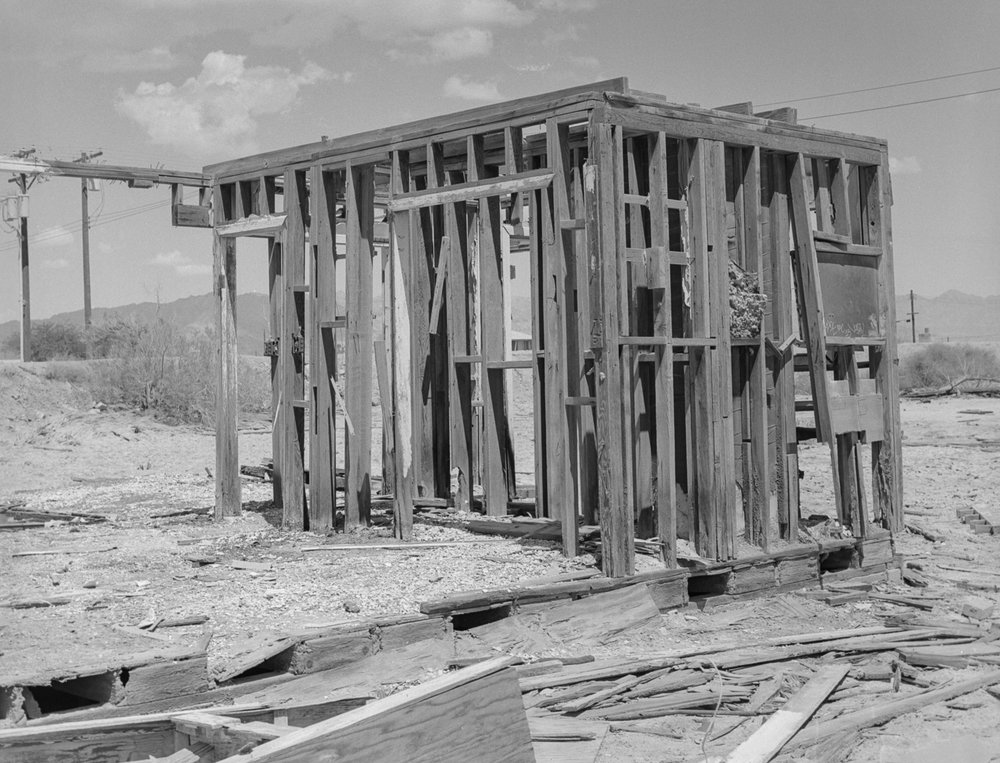 28 Aug 2016, Destroyed structure, Bombay Beach, Salton Sea, CA. Pentax 645, Tri-X 400, Developed (D76) and Scanned by me.