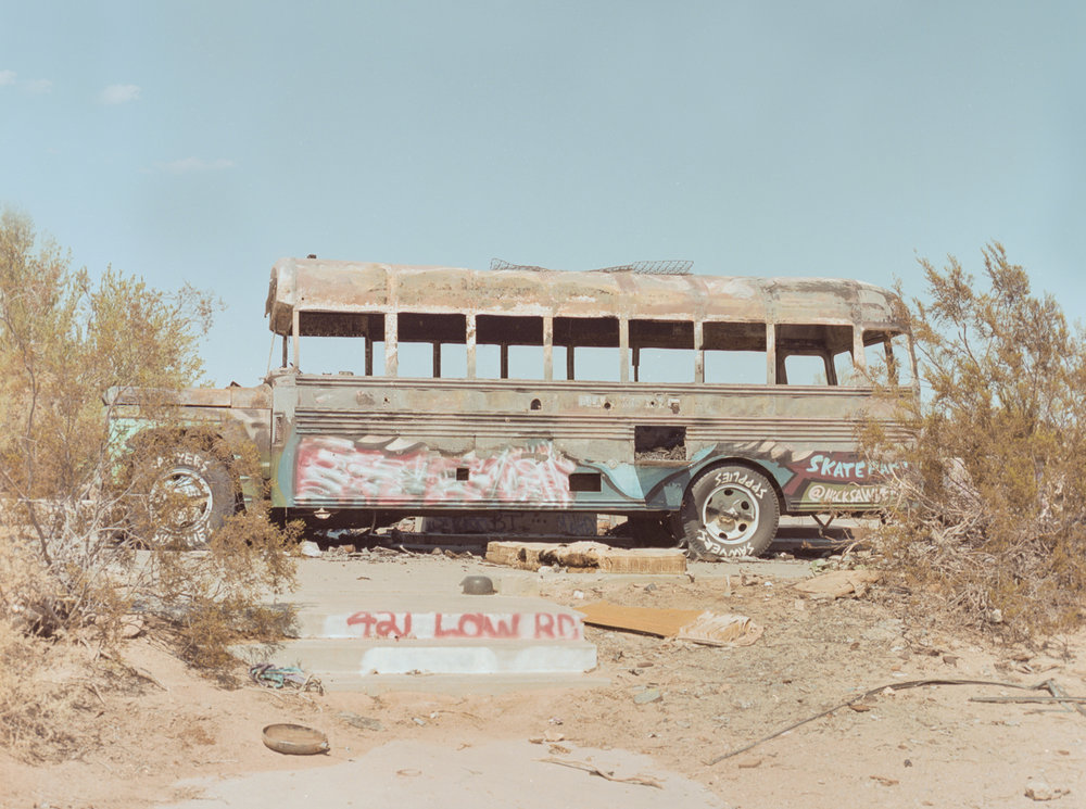 28 Aug 2016, Old bus advertising for a skate park, Slab City, Niland, CA. Pentax 645, Ektar 100 @ 400, Developed (Unicolor) and Scanned by me.