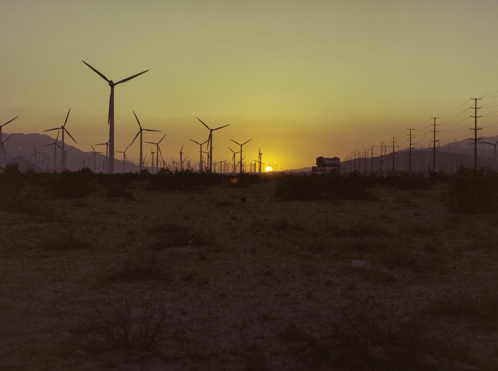 28 Aug 2016, Wind Farm, Sonoran Desert at sunset on the way back home. Pentax 645, Portra 400, Developed (Unicolor) and Scanned by me.