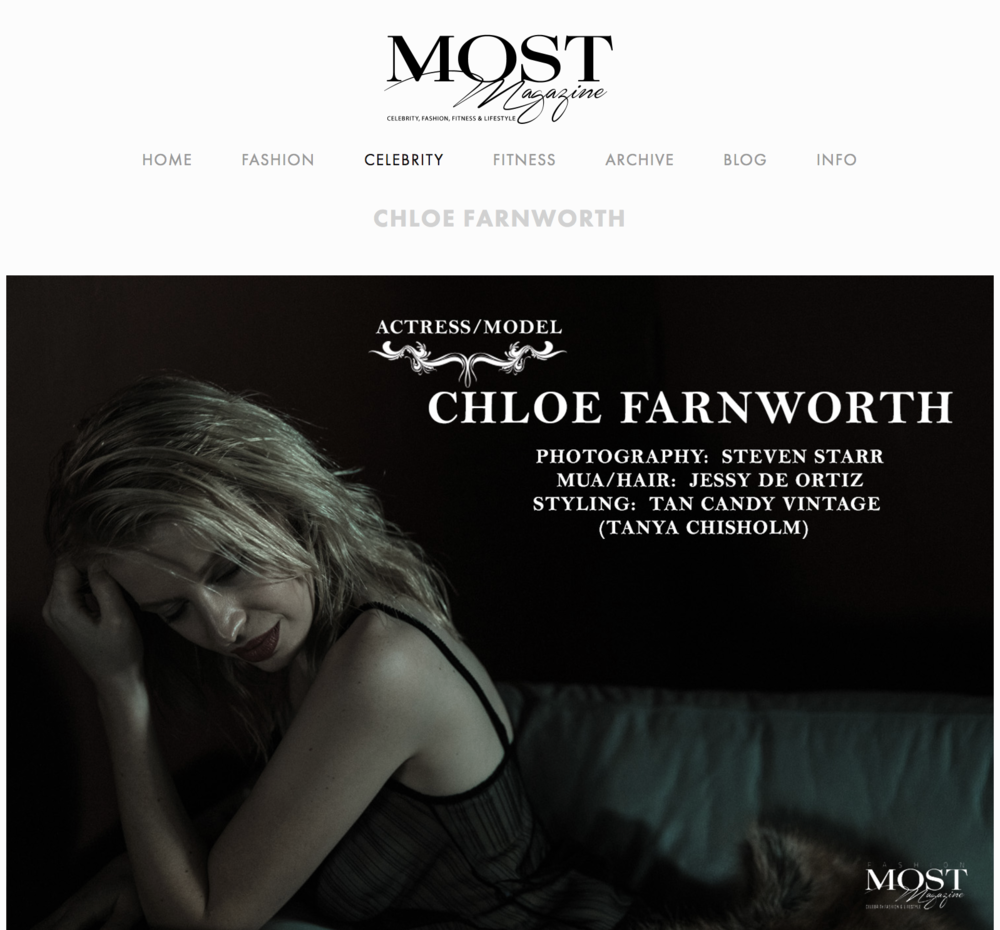 Actress Chloe Farnworth for Most Magazine (www.mostmag.com).  (c) 2017 - Steven Starr