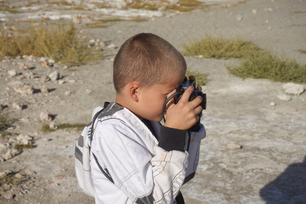 Ayden at Mono Lake shooting with his Vivitar 2001 Z.  2016.