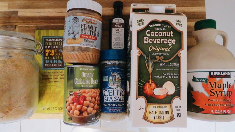 Ingredients from left: Ground flax, dark choc, PB, chickpeas, vanilla, salt, coconut milk, maple syrup