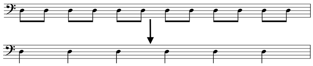 In this example, if each metronome click is eighth = 150 bpm, then the quarters will = 75 bpm