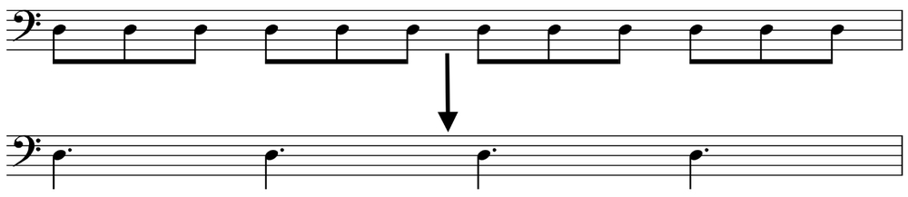 In this example, if each metronome click is eighth = 150 bpm, then the dotted quarters will = 50 bpm