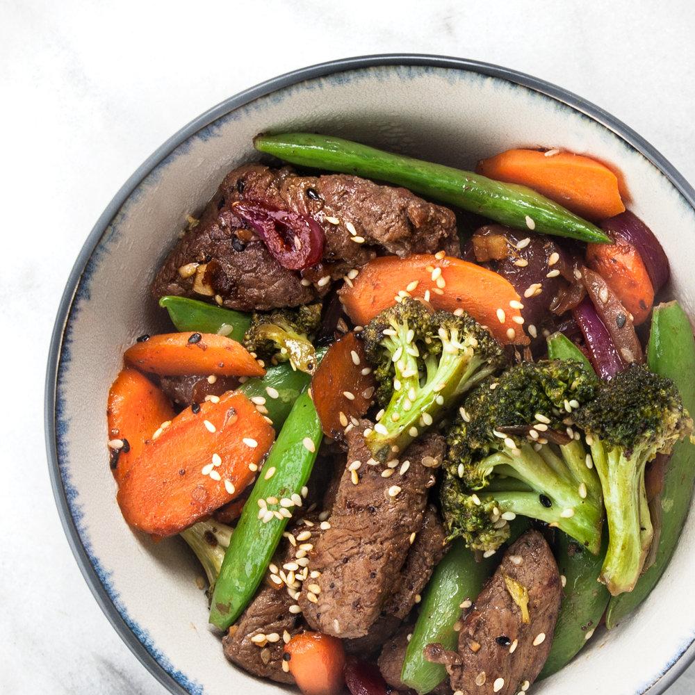 Paleo-friendly steak stir-fry with spring vegetables