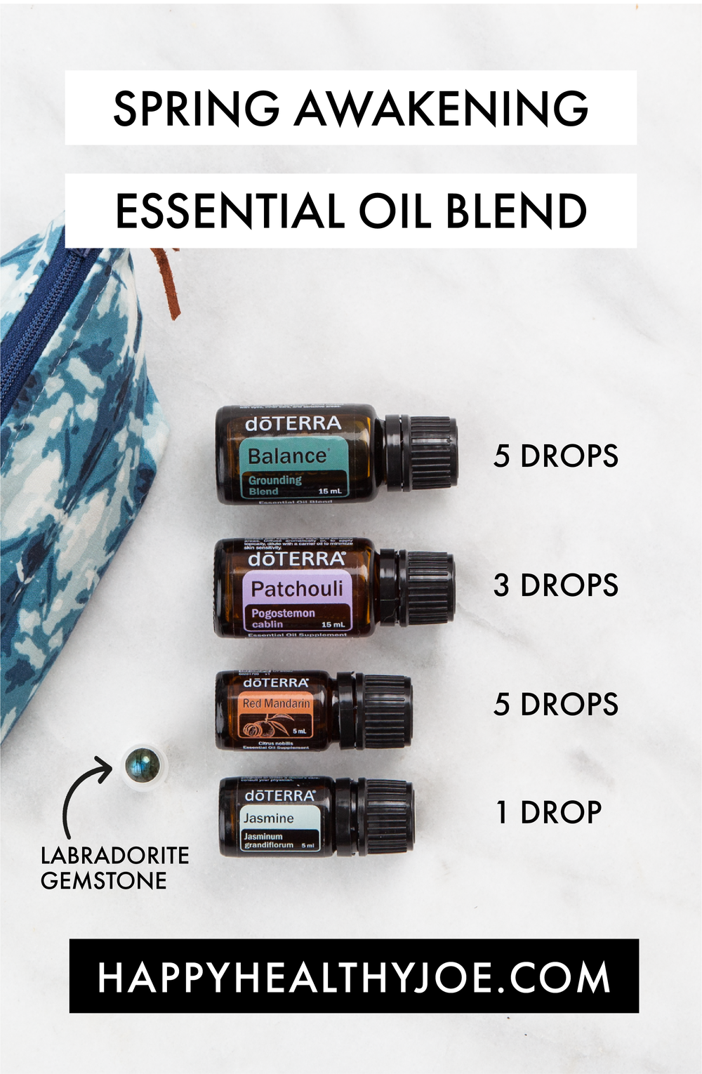 Spring Awakening doTERRA Essential Oil Blend with Labradorite Gemstone Rollerball | Happy Healthy Joe