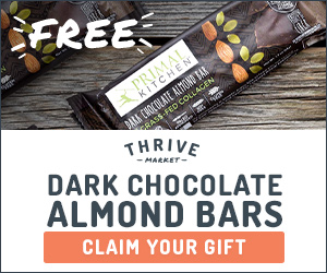 Thrive Market Free Primal Kitchen Collagen Chocolate Almond Bars | Happy Healthy Joe | Integrative Health Coach