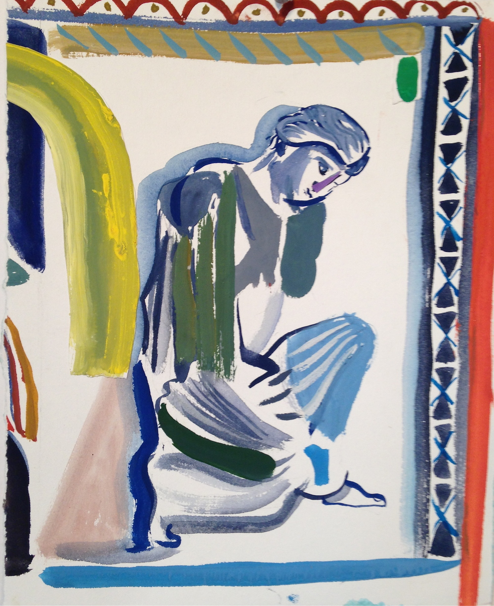 Crouching Woman with Rainbow   2015  gouache, collage, ink