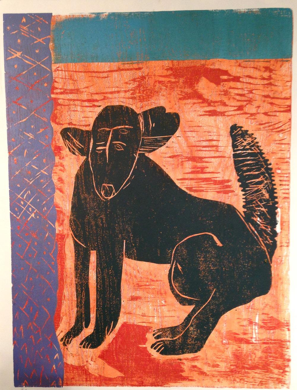 Hannah Ryggen Dog    2016  Woodblock print, ed. of 8