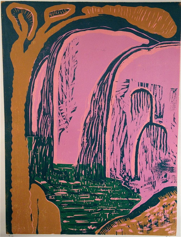 The Singing Waterfall    2016  Woodblock print, ed. of 8