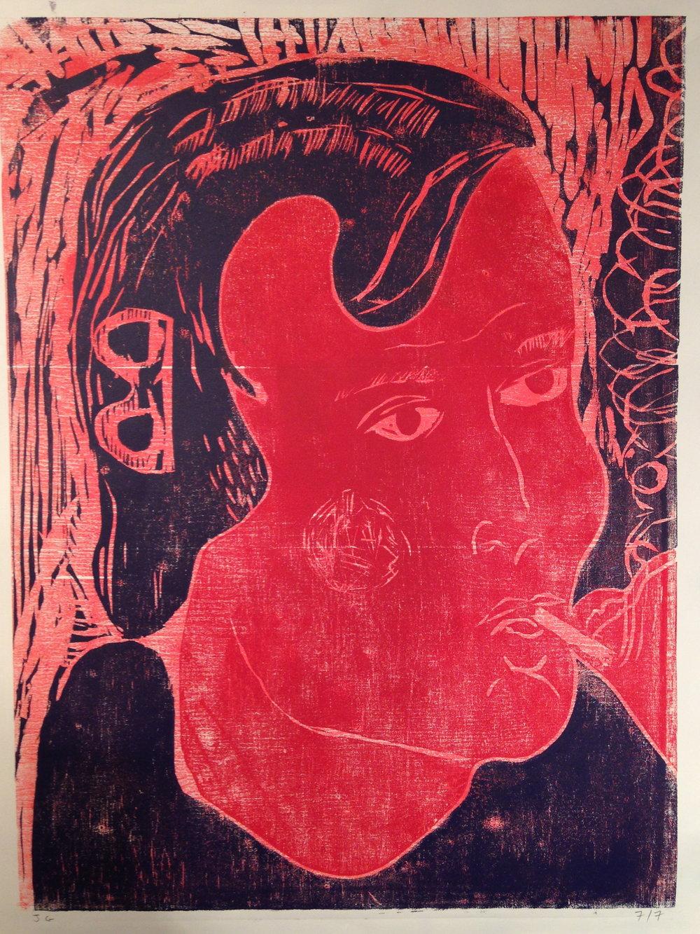 The Smoker    2016  Woodblock print, ed. of 7