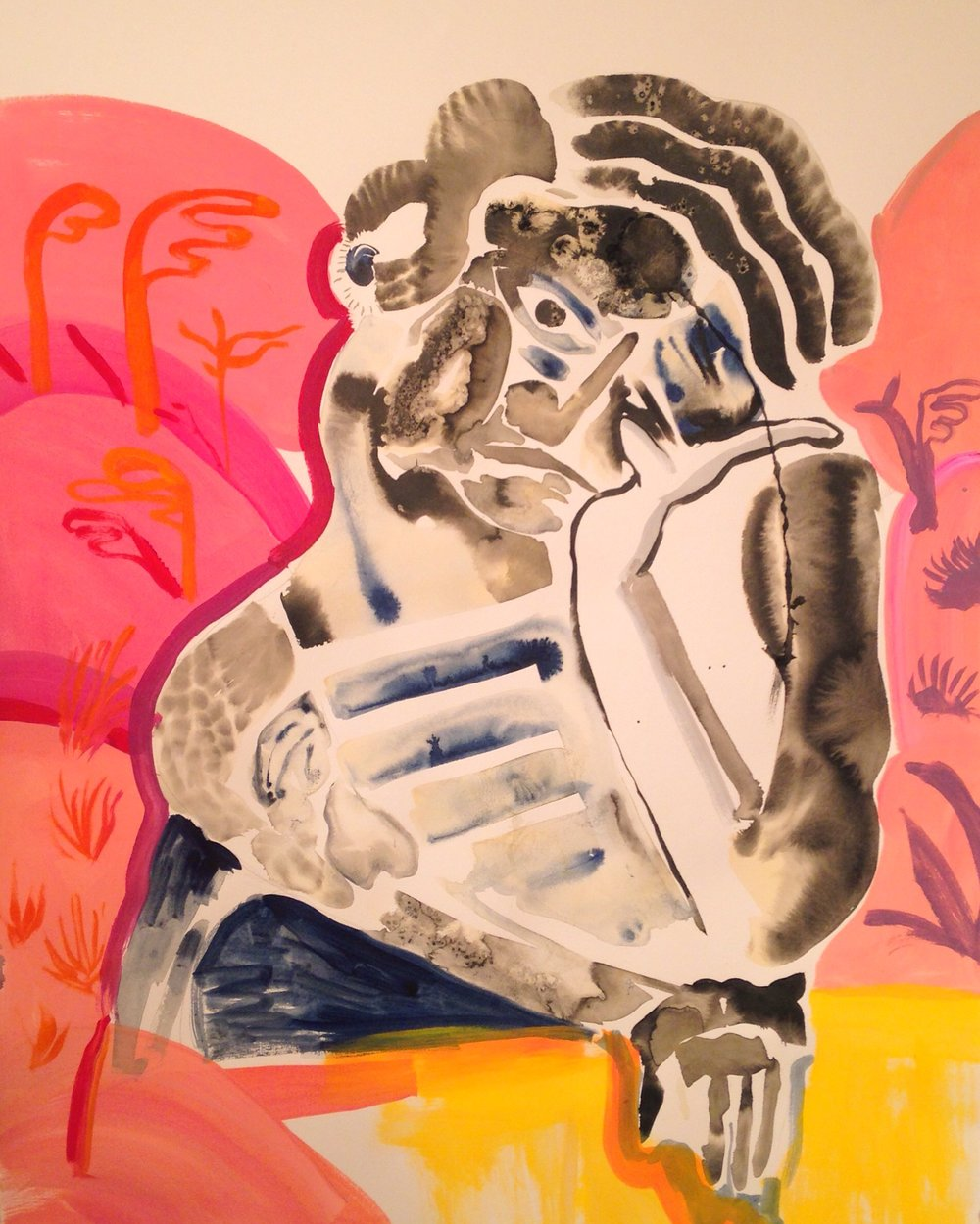 Money Worries   2015  gouache, flashe, charcoal on paper