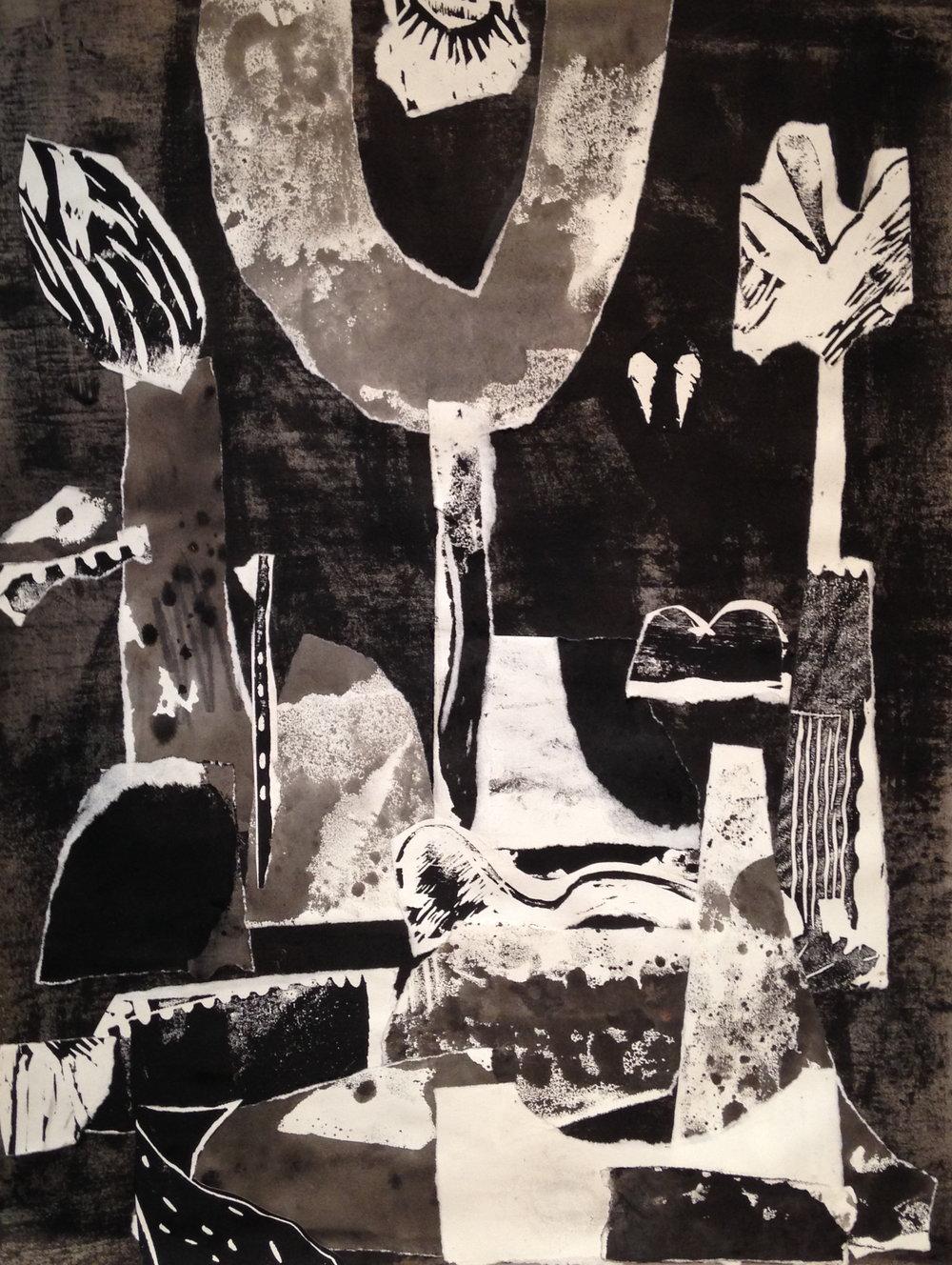 Garden Threshold   2016  ink, ink transfer, collage, on paper