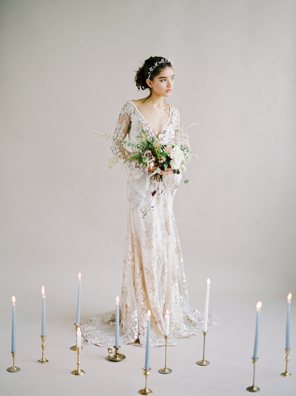 Our embroidered Rose Gold Alyse gown by Odylyne the Ceremony and headpiece by Olivia the Wolf.