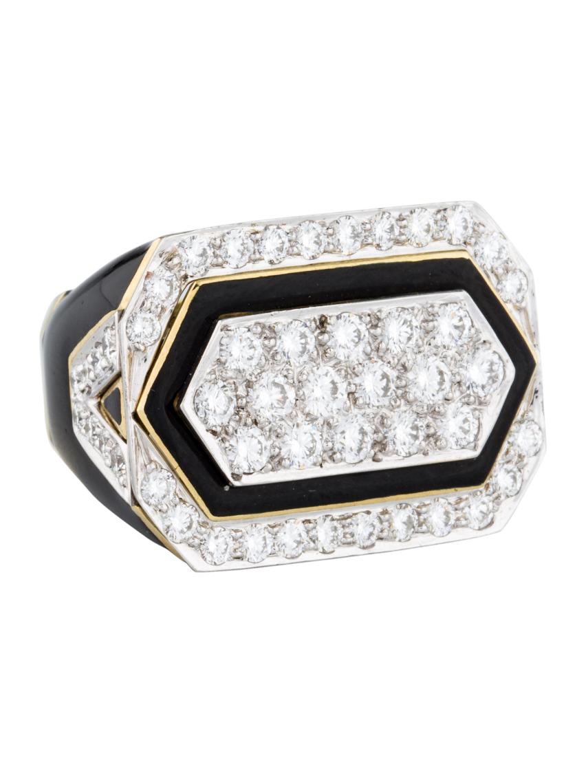 David Webb, Diamond and Enamel Cocktail Ring, 2.96 carats, $15,995